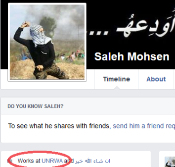 A magát UNRWA- alkalmazottnak nevező Saleh Mohsen nemrég lecserélte profilképét egy palesztin kődobálóéra (UN Watch képe)
